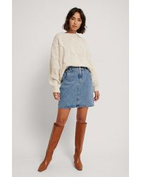 Mango Blue Paperbag Denim Skirt