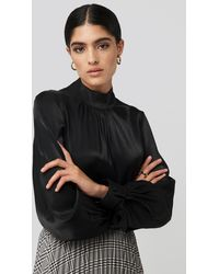 NA-KD High Neck Loose Fit Blouse - Noir