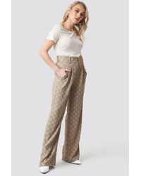 NA-KD Kae Sutherland x Spotted Wide Leg Trousers - Natur