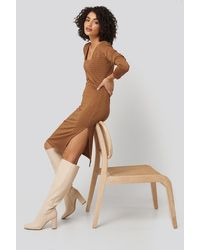 Trendyol Side Slit Textured Knitted Midi Dress - Braun