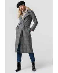 Trendyol Gray Belted Overcoat