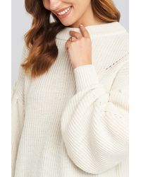 NA-KD Puff Sleeve Sweater - Wit