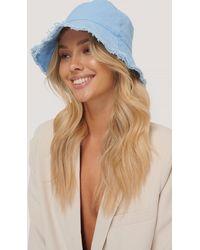 NA-KD Blue Raw Edge Bucket Hat