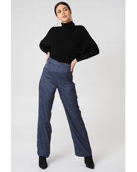 NA-KD Jacquard Satin Wide Pants - Bleu