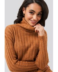 Trendyol Ribbed Turtleneck Knitted Sweater - Marron