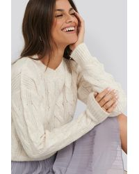 NA-KD Regular Cable Knitted Sweater - Wit