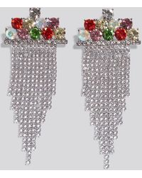 NA-KD Accessories Multi Color Hanging Strass Earrings - Mehrfarbig