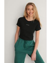 Calvin Klein - Black Micro Branding Crop Rib Top - Lyst