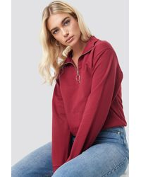 NA-KD Half Zip Pullover - Rood