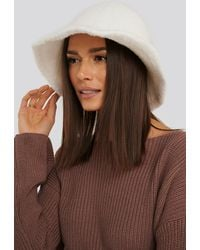 NA-KD Accessories Fluffy Bucket Hat - Weiß