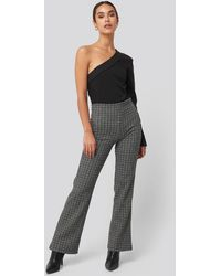 Trendyol - Black Plaid Knitted Trousers - Lyst