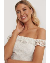 NA-KD White Recycled Off Shoulder Lace Top