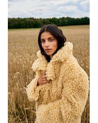 NA-KD Trend Oversized Fluffy Teddyjas - Naturel