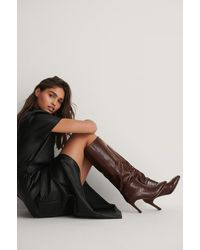NA-KD Brown Wide Shaft Squared Toe Boots