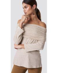 NA-KD - Offshoulder Light Knitted Sweater Beige Melange - Lyst