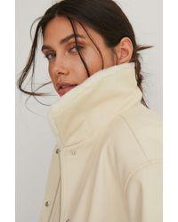 NA-KD Beige Faux Fur Bonded Pu Jacket - Natural