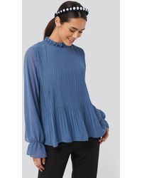 NA-KD - High Neck Pleated Blouse - Lyst