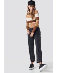 Mango - Straight Cropped Jeans Black Denim - Lyst