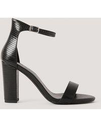 NA-KD Basic Sandalen Met Hoge Blokhakken - Zwart