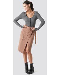 NA-KD Overlapped Belted Midi Skirt - Bruin