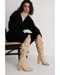 NA-KD Beige Slouchy Shaft Squared Toe Boots - Natural
