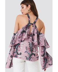 Glamorous Halter Ruffle Print Top - Multicolore