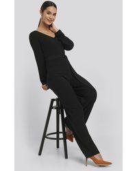NA-KD Crinkle Jersey Jumpsuit - Zwart