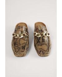 NA-KD Instap Loafers Met Kettingdetail - Bruin