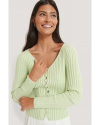 NA-KD Green Pearl Detailed Knitted Cardigan