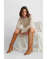 NA-KD Brown Squared Long Toe Shaft Boots