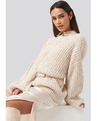 NA-KD - Trend Deep Neck Melange Sweater - Lyst