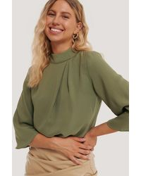 NA-KD - High Neck Wide Sleeve Blouse - Lyst