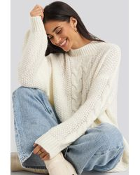 NA-KD Oversized Cable Knitted Sweater - Weiß