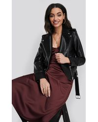 NA-KD Pu Leather Biker Jacket - Zwart