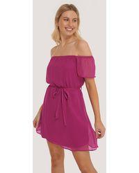 Trendyol Off-shoulder Mini-jurk Met Riem - Paars