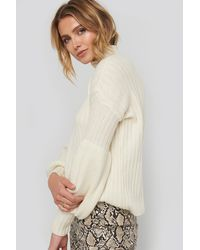 Trendyol High Neck Volume Cuffs Knitted Sweater - Wit