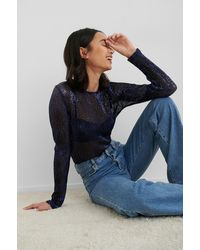 NA-KD Party Sequin Round Neck Top - Blauw