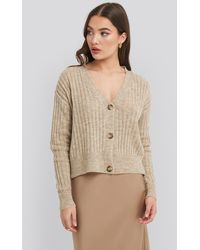 NA-KD Beige Button Up Ribbed Cropped Cardigan - Natural
