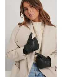 NA-KD Black Puffy Quilted Mittens