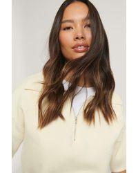 NA-KD White Big Collar Zipped Knitted Sweater