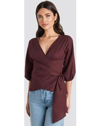 NA-KD - Wrap Over Balloon Sleeve Blouse - Lyst
