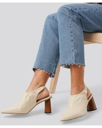 NA-KD High Vamp Slingback Court Shoes Beige - Natural
