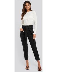 NA-KD Paper Waist Jeans - Zwart
