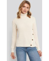 NA-KD Side Buttoned Knitted Sweater - Naturel