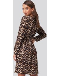 Trendyol Brown Leopard Printed Double Breasted Dress