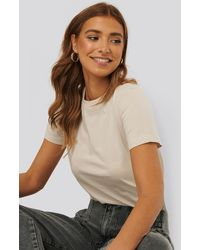 NA-KD Beige Basic Cotton Roundneck T-shirt - Natural