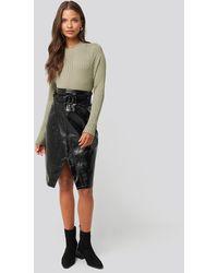 NA-KD Overlap Midi Pu Skirt - Zwart