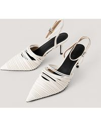 NA-KD White Strap Detailed Slingback Pumps