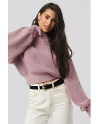 NA-KD Wide Rib Balloon Sleeve Sweater - Pink