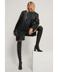NA-KD Black Extended Welt Thigh High Boots